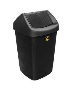 ESD-Abfallbehälter, mit Schwingdeckel, schwarz, leitfähig, 50 l