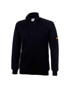 ESD Sweat-Jacke (Zip), Seitentaschen, bis Kinn, schwarz 300 gr/m2