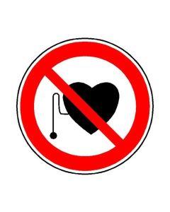 Warnschild Herzschrittmacher, D=10 cm