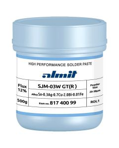 Almit 81820099. Lotpaste bleifrei, SJM-03W GT(R)-S, 20-38 µm, Dose 500 g