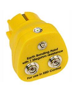 DESCO 231125. Earth Bonding Point, European Plug, 2 x 10mm Studs, 1 x 4mm Stud