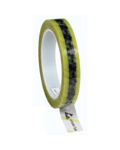 DESCO 242275. Wescorp Antistatic Clear Cellulose Tape with Symbols and Yellow Stripe, 18MM x 65.8M, 76.2MM Plastic Core