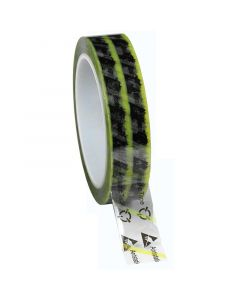 DESCO 242276. Wescorp Antistatic Clear Cellulose Tape with Symbols and Yellow Stripe, 24MM x 65.8M, 76.2MM Plastic Core