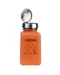 """DESCO 35271. durAstatic® Dissipative Orange HDPE Bottle with One-Touch Pump, Printed with """"Acetone"""", 180mL"""