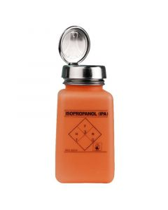 """DESCO 35272. durAstatic® Dissipative Orange HDPE Bottle with One-Touch Pump, Printed with """"IPA"""", 180mL"""