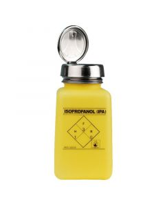 """DESCO 35278. durAstatic® Dissipative Yellow HDPE Bottle with One-Touch Pump, Printed with """"IPA"""", 180mL"""