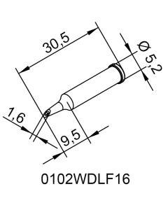 Ersa 0102WDLF16. DUR Lötspitze für i-Tool, gerade, PowerWell mit Hohlkehle, 1,6 mm