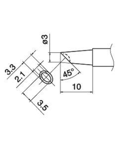 Hakko T15-BCM3. Soldering tip Shape-3BC Bevel with indent