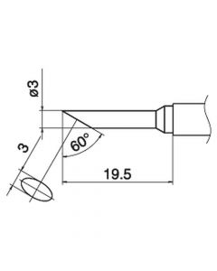 Hakko T15-CF3. Soldering tip Shape-3C