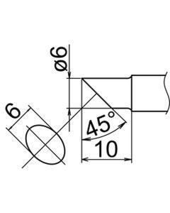 Hakko T22-C6. Soldering tip Shape-6C * Heavy Duty Type