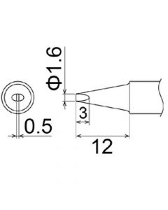 Hakko T22-D16. Soldering tip Shape-1.6D * Heavy Duty Type