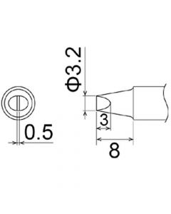 Hakko T22-D32. Soldering tip Shape-3.2D * Heavy Duty Type