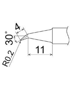 Hakko T22-J02. Soldering tip Shape-0.2J * Heavy Duty Type