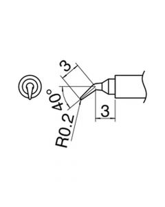 Hakko T30-J. Soldering tip Shape-J C5041 Nozzle assembly D