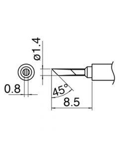 Hakko T30-KN. Soldering tip Shape-KN C5041 Nozzle assembly D