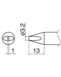 Hakko T33-D32. Soldering tip Shape-3.2D