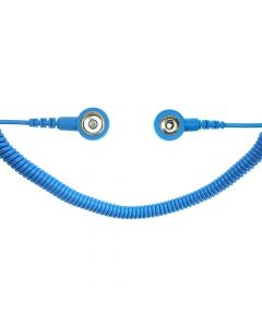 SAFEGUARD WL19533. SAFEGUARD ESD PRO - ESD-Spiralkabel, 2x1 MOhm, 2,4 m, 3/10 mm Druckknopf, blau
