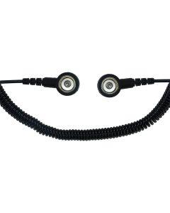 SAFEGUARD WL19687. SAFEGUARD ESD PRO - ESD-Spiralkabel schwarz, 2x1 MOhm, 2,4 m, 10/10 mm Druckknopf, schwarz