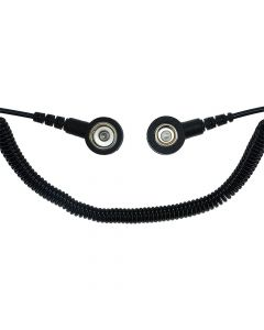 SAFEGUARD WL42083. SAFEGUARD ESD PRO - ESD-Spiralkabel, 2 MOhm, 2,4 m, 7/10 mm Druckknopf, schwarz