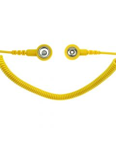 SAFEGUARD WL42088. SAFEGUARD ESD PRO - ESD-Spiralkabel, 2 MOhm, 3,6 m, 3/10 mm Druckknopf, gelb