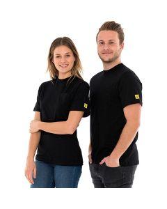 SAFEGUARD WL44696. SafeGuard PRO - ESD T-Shirt rundhals mit Brusttasche, schwarz, XXXL