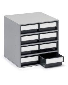 Schubladenmagazine Treston Serie 400, 400x400x395 mm, 8 Schubladen grau