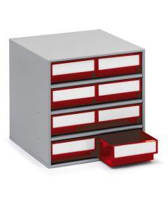 Schubladenmagazin Treston Serie 300, 300x400x395 mm, 8 Schubladen rot