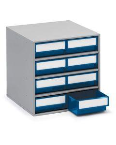 Schubladenmagazin Treston Serie 300, 300x400x395 mm, 8 Schubladen blau