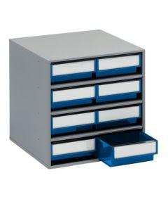 Schubladenmagazine Treston Serie 400, 400x400x395 mm, 8 Schubladen blau
