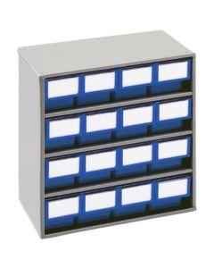 Schubladenmagazine Treston Serie 300, 300x400x395 mm, 16 Schubladen blau