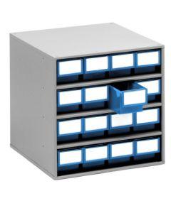 Schubladenmagazine Treston Serie 400, 400x400x395 mm, 16 Schubladen blau