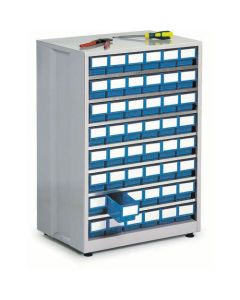 Großes Schubladenmagazin Treston 4840-6, 410x605x870 mm, 48 Schubladen, blau